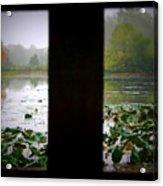 Observation Deck On A Misty Lake  Acrylic Print