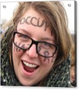 Occupy Nature Face Paint At Political Demonstration Acrylic Print