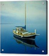 Coastal Wall Art, Ocean Blue, Fishing Boat Paintings Acrylic Print