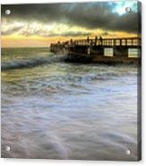 Ocean Fishing Pier Sunrise Acrylic Print