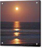 Ocean Moon In Pastels Acrylic Print by DigiArt Diaries by Vicky B Fuller