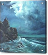Seascape And Moonlight An Ocean Scene Acrylic Print