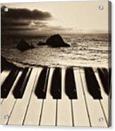 Ocean Washing Over Keyboard Acrylic Print by Garry Gay
