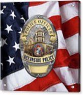 Oceanside Police Department - Opd Officer Badge Over American Flag Acrylic Print