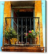 Ochre Window In Turqoise Acrylic Print by Mexicolors Art Photography