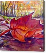 Ode To A Fallen Leaf Painting With Quote Acrylic Print