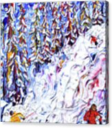 Off Piste In The Woods Above Morzine Acrylic Print