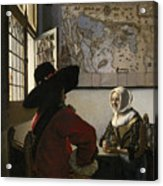 Officer And Laughing Girl Framed Print By Jan Vermeer
