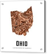 Ohio Map Art Abstract In Brown Acrylic Print