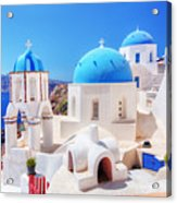 Oia Town On Santorini Island Greece Aegean Sea Acrylic Print