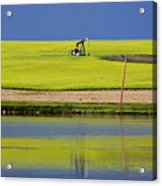 Oil Jack Reflection Saskatchewan Acrylic Print