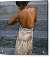 Oil Painting Art-bather On Linen Acrylic Print
