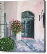 oil painting print art for sale Pink Wall and Door   Acrylic Print