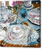Oil Painting Still Life China Tea Set Acrylic Print