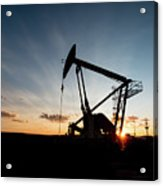 Oil Pumper At Sunset Acrylic Print