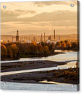 Oil Refinery At Sunset Acrylic Print