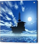 Oil Rig, Artwork Acrylic Print by Victor Habbick Visions