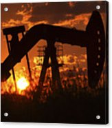 Oil Rig Pump Jack Silhouetted By Setting Sun Acrylic Print