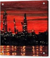 Oil Rigs Night Construction Portland Harbor Acrylic Print