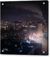 Oil Style City At Night Image Acrylic Print