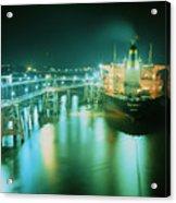 Oil Tanker In Port At Night. Acrylic Print