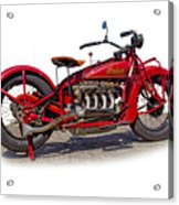 Old 1930's Indian Motorcycle Acrylic Print by Mamie Thornbrue
