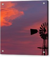 Old American Farm Windmill With A Sunset  Acrylic Print