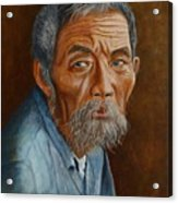 Old Asian Worker Acrylic Print by David Hawkes