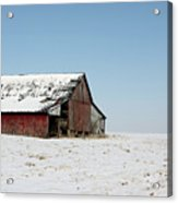 Old Barn And Snowy Prairie Acrylic Print