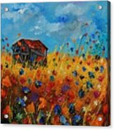 Old Barn And Wild Flowers Acrylic Print