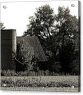 Old Barn Outbuildings And Silo  Acrylic Print