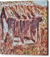 Old Barn Outhouse Falling Apart In Decay And Dilapidation Rotting Wood Overgrown Mountain Valley Sce Acrylic Print