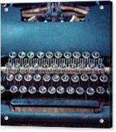 Old Blue Typewriter Acrylic Print