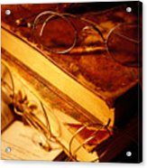 Old Books And Glasses Acrylic Print by Garry Gay