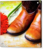 Old Boots And Daisy Acrylic Print