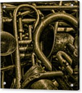 Old Brass Musical Instruments Acrylic Print