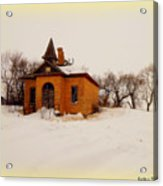 Old Brick Schoolhouse In Winter Acrylic Print