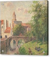 Old Bridge In Bruges  Acrylic Print by Camille Pissarro