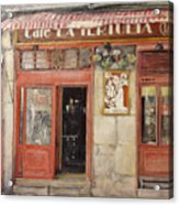 Old Cafe- Santander Spain Acrylic Print by Tomas Castano