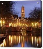 Old Canal And Dom Tower In Utrecht In The Evening 16 Acrylic Print