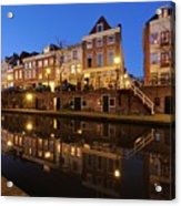 Old Canal In Utrecht At Dusk 211 Acrylic Print