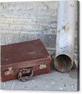 Old Cardboard Suitcase In The Street Acrylic Print
