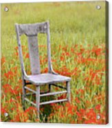Old Chair In Wildflowers Acrylic Print