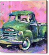 Old Chevy Chevrolet Pickup Truck On A Street Acrylic Print
