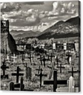 Old Church Taos Pueblo Acrylic Print by Lou  Novick