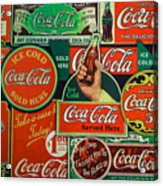 Old Coca-cola Sign Collage Acrylic Print