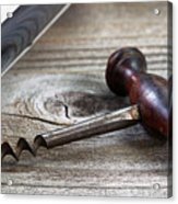Old Corkscrew And Wine Bottle In Background On Rustic Wood Acrylic Print