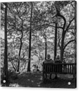 Old Couple On The Bench By The Lake Acrylic Print