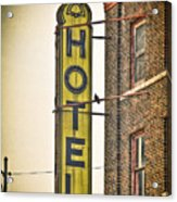 Old Detroit Hotel Sign Acrylic Print