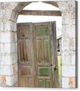 Old Door In A Brick Wall Acrylic Print